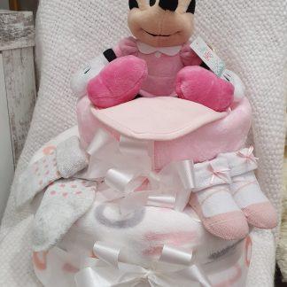 baby girl 2 tier nappy cake