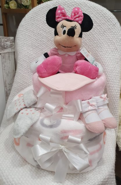 baby girl 2 tier nappy cake