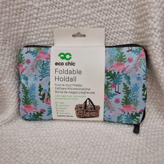 Eco Chic Foldable Holdall -Flamingo
